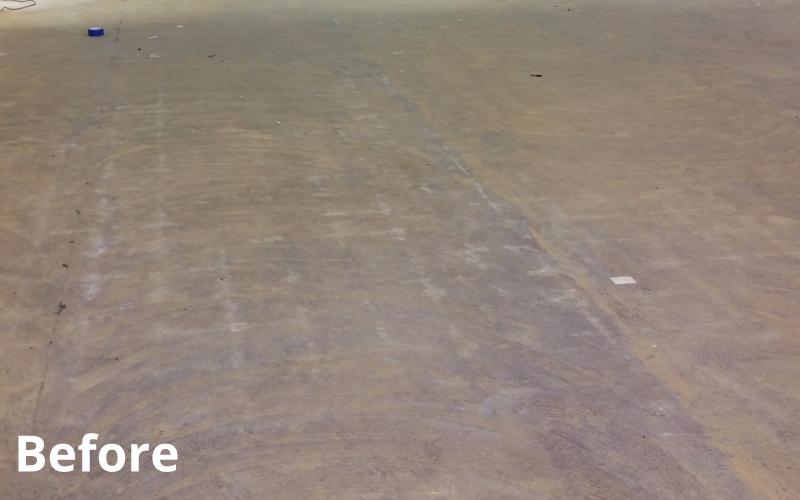 before concrete polishing treatment